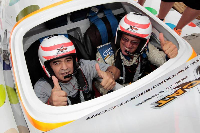 Argentinean football legend Diego Maradona got his first taste of driving an XCAT powerboat at the third round of the UIM Skydive Dubai XCAT World Series in Naples, Italy. Photo Courtesy: XCAT World Series