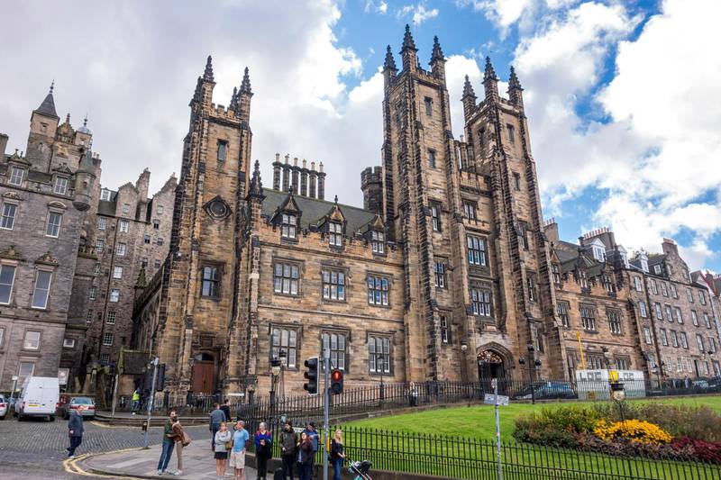KFJECH General Assembly Hall and New College, The University of Edinburgh on the Mound hill in Edinburgh, Scotland, UK