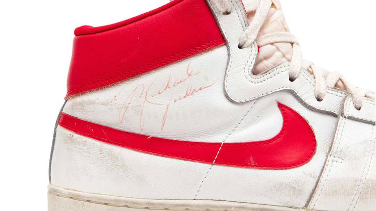 An image that illustrates this article Michael Jordan's Air Ship trainers sell for $1.4 million