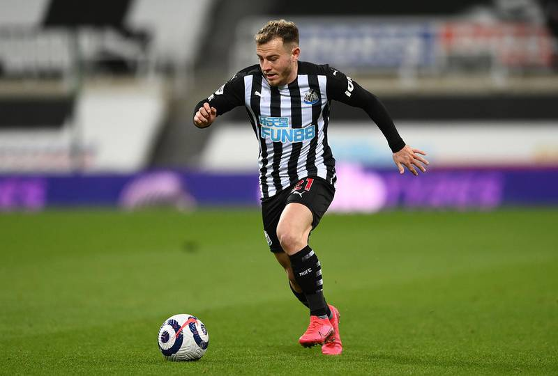 NEWCASTLE UPON TYNE, ENGLAND - MARCH 12: Newcastle player Ryan Fraser in action during the Premier League match between Newcastle United and Aston Villa at St. James Park on March 12, 2021 in Newcastle upon Tyne, England. Sporting stadiums around the UK remain under strict restrictions due to the Coronavirus Pandemic as Government social distancing laws prohibit fans inside venues resulting in games being played behind closed doors. (Photo by Stu Forster/Getty Images)