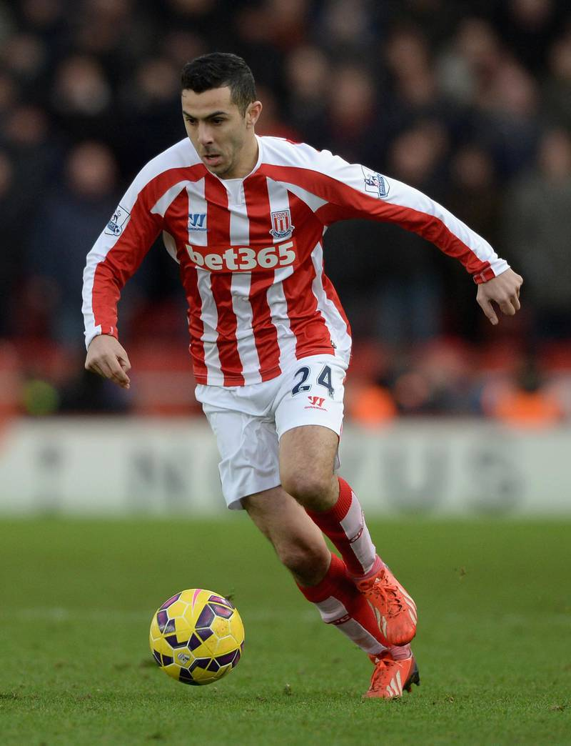STOKE ON TRENT, ENGLAND - JANUARY 01:  Oussama Assaidi of Stoke City during the Barclays Premier League match between Stoke City and Manchester United at Britannia Stadium on January 1, 2015 in Stoke on Trent, England.  (Photo by Gareth Copley/Getty Images)