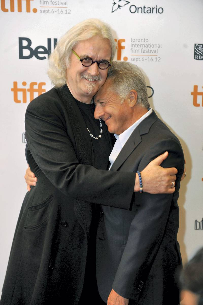 """TORONTO, ON - SEPTEMBER 09: Actor Billy Connolly (L) and director Dustin Hoffman arrive at the """"Quartet"""" Premiere at the 2012 Toronto International Film Festival at The Elgin on September 9, 2012 in Toronto, Canada.   Jag Gundu/Getty Images/AFP"""