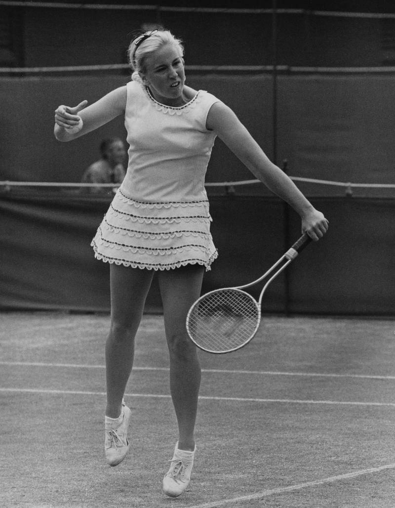 American tennis player Kristy Pigeon in action against Great Britain's Ann Jones in the London Grass Court Championships (later the Queen's Club Championships) at the Queen's Club in West Kensington, London, 18th June 1968.  (Photo by Central Press/Hulton Archive/Getty Images)