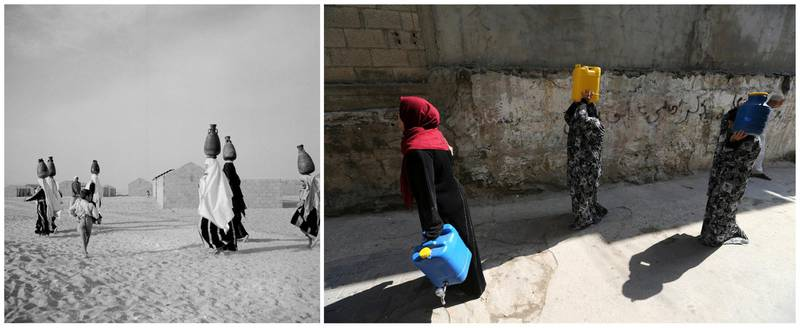 """A combination picture shows newly displaced Palestinian refugees walking after fetching potable water in Al-Shati (Beach) refugee camp in Gaza City, in this handout picture believed to be taken in 1953. UNRWA/Handout via REUTERS (L) and Palestinian women walking after fetching potable water in Al-Shati (Beach) refugee camp in Gaza City, September 10, 2019. REUTERS/Ibraheem Abu Mustafa ATTENTION EDITORS - THIS IMAGE WAS PROVIDED BY A THIRD PARTY. NO RESALES. NO ARCHIVES SEARCH """"UNRWA COMBOS"""" FOR THIS STORY. SEARCH """"WIDER IMAGE"""" FOR ALL STORIES."""