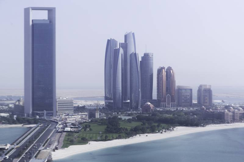 Abu Dhabi, United Arab Emirates, April 10, 2017:     General view of Etihad Towers, ADNOC headquarters and Bab Al Qasr hotel seen from the observation tower at Marina Mall in Abu Dhabi on April 10, 2017. Christopher Pike / The National  Reporter:  N/A Section: Business Keywords:       *** Local Caption ***  CP0410-bz-STOCK-skyline-04.JPG