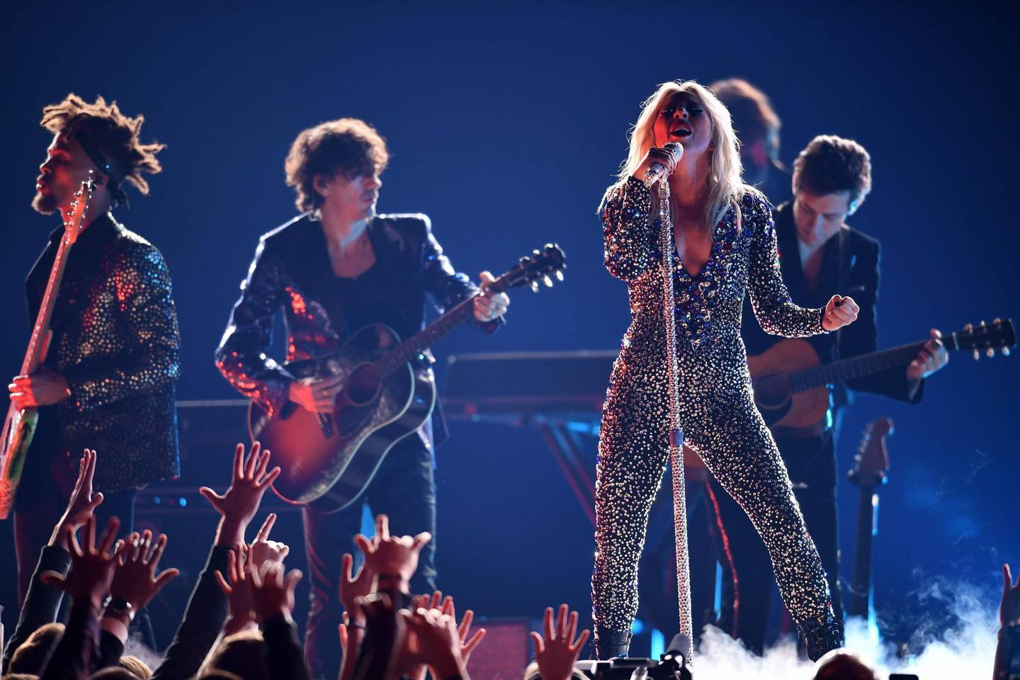 US singer-songwriter Lady Gaga performs onstage during the 61st Annual Grammy Awards on February 10, 2019, in Los Angeles.  / AFP / Robyn Beck