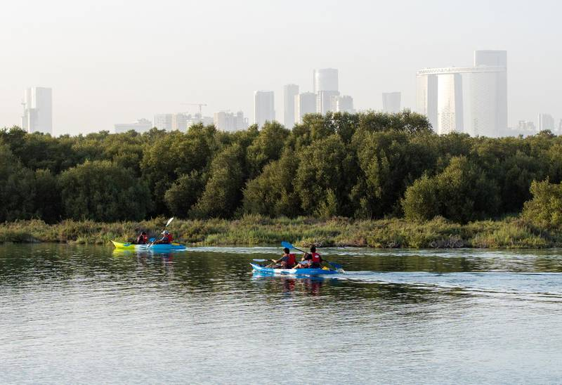 Abu Dhabi, United Arab Emirates, April 1, 2021. Kayakers at the Eastern Mangroves area.Victor Besa/The NationalSection:  NAFOR:  Stock Images/Standalone/Big Picture