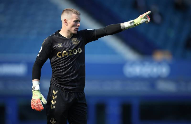 LIVERPOOL, ENGLAND - SEPTEMBER 19: Jordan Pickford of Everton  gives his team instructions  during the Premier League match between Everton and West Bromwich Albion at Goodison Park on September 19, 2020 in Liverpool, England. (Photo by Nick Potts - Pool/Getty Images)