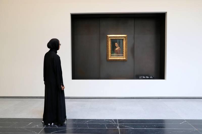 Abu Dhabi, United Arab Emirates - November 6th, 2017: Piece: Leonardo da Vinci's portrait La Belle Ferronière at the Louvre. Louvre Media Day. Monday, November 6th, 2017 at Louvre, Abu Dhabi. Chris Whiteoak / The National