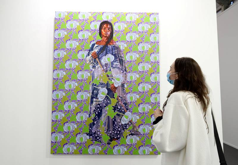 Dubai, United Arab Emirates - Reporter: Alexandra Chaves. Arts and Lifestyle. A portrait of Mame Kéwé Aminata Lo by Kehinde Wiley. Art Dubai 2021 opens at the DIFC. Tuesday, March 30th, 2021. Dubai. Chris Whiteoak / The National