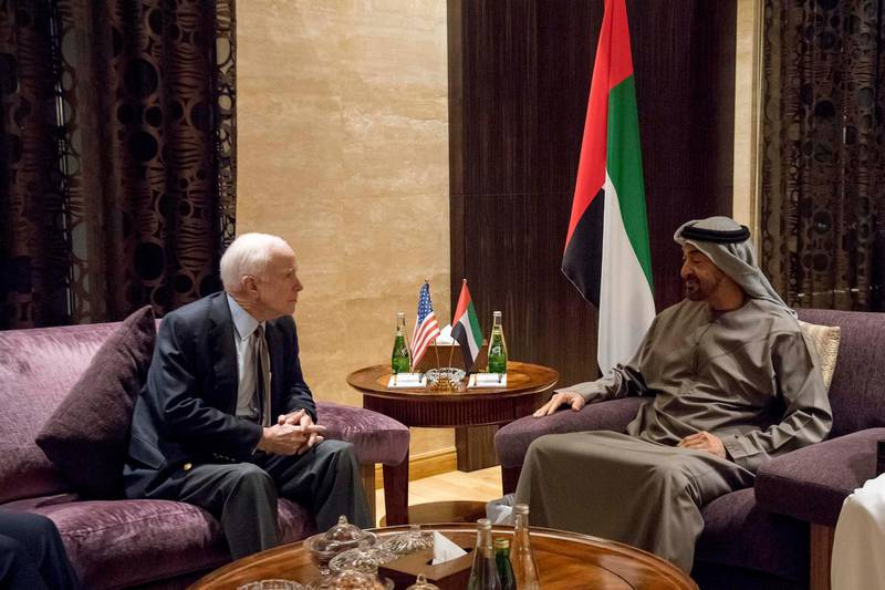 ABU DHABI, UNITED ARAB EMIRATES - February 21, 2017: HH Sheikh Mohamed bin Zayed Al Nahyan Crown Prince of Abu Dhabi Deputy Supreme Commander of the UAE Armed Forces (R), meets with John McCain, Senator of the United States of America and Chair of the Senate Armed Services Committee (L), at Al Shati Palace.  ( Rashed Al Mansoori / Crown Prince Court - Abu Dhabi  ) *** Local Caption ***  20170221RMC04_3613.jpg