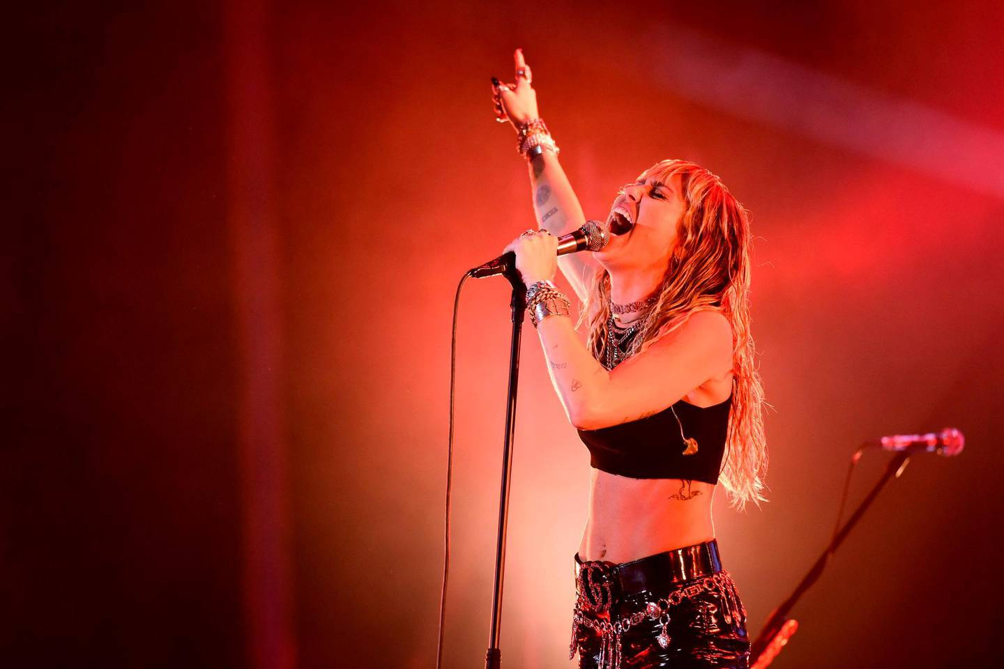 US singer Miley Cyrus performs on stage during a concert at the Sunny Hill Festival in Pristina on August 2, 2019. / AFP / Armend NIMANI