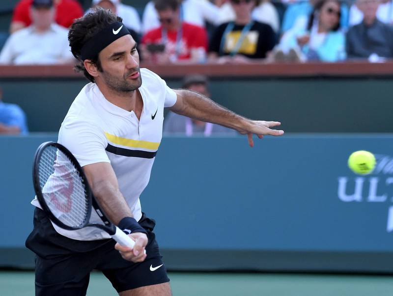 Mar 14, 2018; Indian Wells, CA, USA; Roger Federer (SUI) during his fourth round match against Jeremy Chardy (not pictured) in the BNP Paribas Open at the Indian Wells Tennis Garden. Mandatory Credit: Jayne Kamin-Oncea-USA TODAY Sports