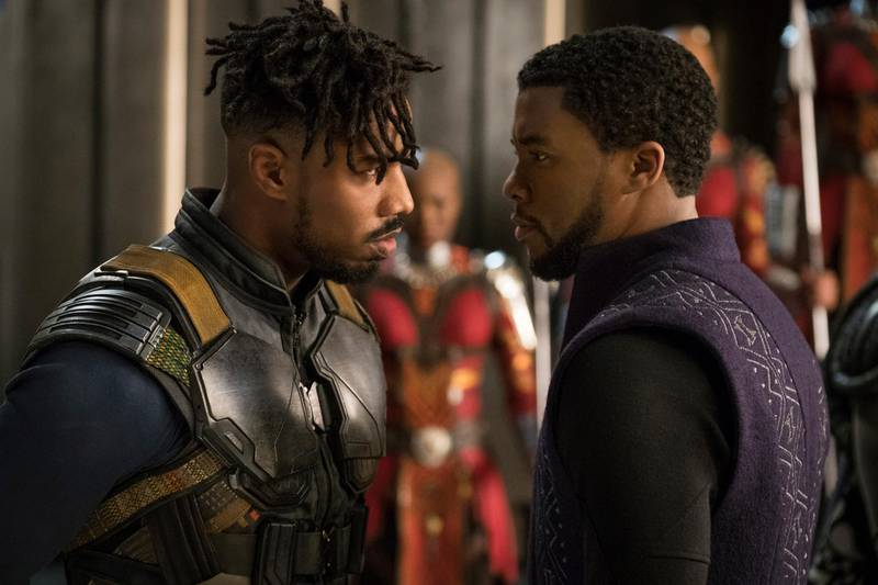 Marvel Studios' BLACK PANTHER..L to R: Erik Killmonger (Michael B. Jordan) and T'Challa/Black Panther (Chadwick Boseman). Matt Kennedy / Marvel Studios