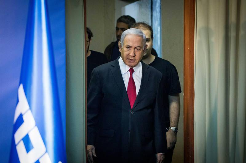 JERUSALEM, ISRAEL - FEBRUARY 28:  (ISRAEL OUT)  Israeli Prime Minister Benjamin Netanyahu  walking into a press room to make a statement to the press  in his offices on February 28, 2019 in Jerusalem, Israel. Israel's Attorney General Avichai Mendelblit announced on Thursday his decision to indict Prime Minister Benjamin Netanyahu for bribery, fraud and breach of trust in three separate cases, pending a hearing.  (Photo by Lior Mizrahi/Getty Images)