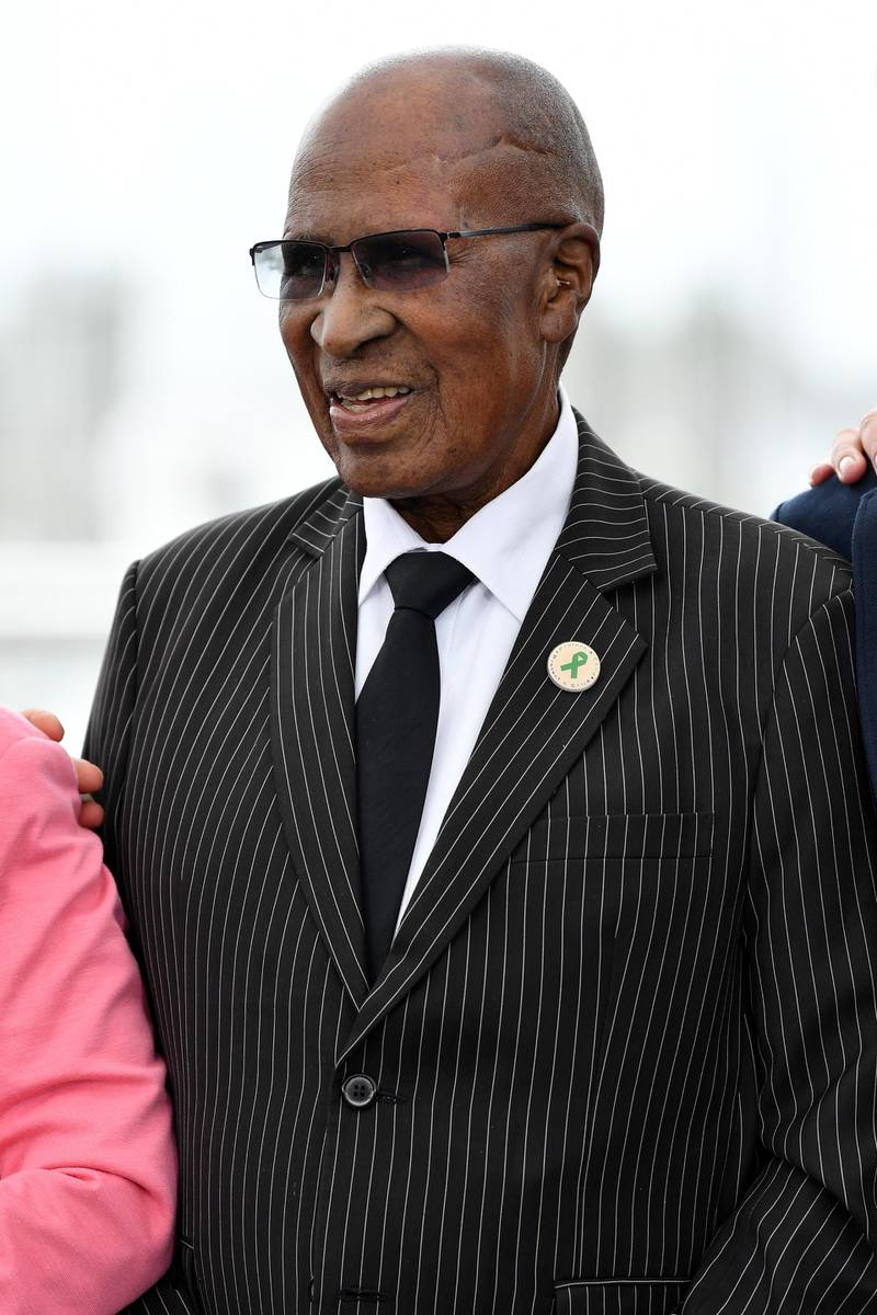 """CANNES, FRANCE - MAY 14:  Andrew Mlangeni attends the photocall for """"The State Against Mandela"""" during the 71st annual Cannes Film Festival at Palais des Festivals on May 14, 2018 in Cannes, France.  (Photo by Emma McIntyre/Getty Images)"""