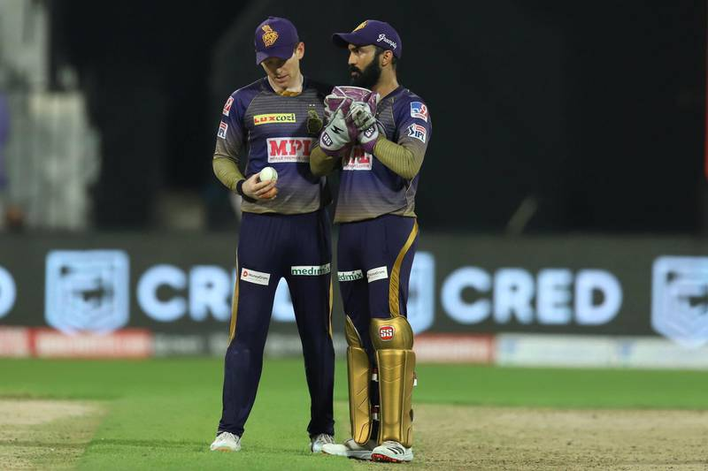 Dinesh Karthik captain of Kolkata Knight Riders and Eoin Morgan of Kolkata Knight Riders during match 16 of season 13 of the Dream 11 Indian Premier League (IPL) between the Delhi Capitals and the Kolkata Knight Riders held at the Sharjah Cricket Stadium, Sharjah in the United Arab Emirates on the 3rd October 2020.  Photo by: Deepak Malik  / Sportzpics for BCCI