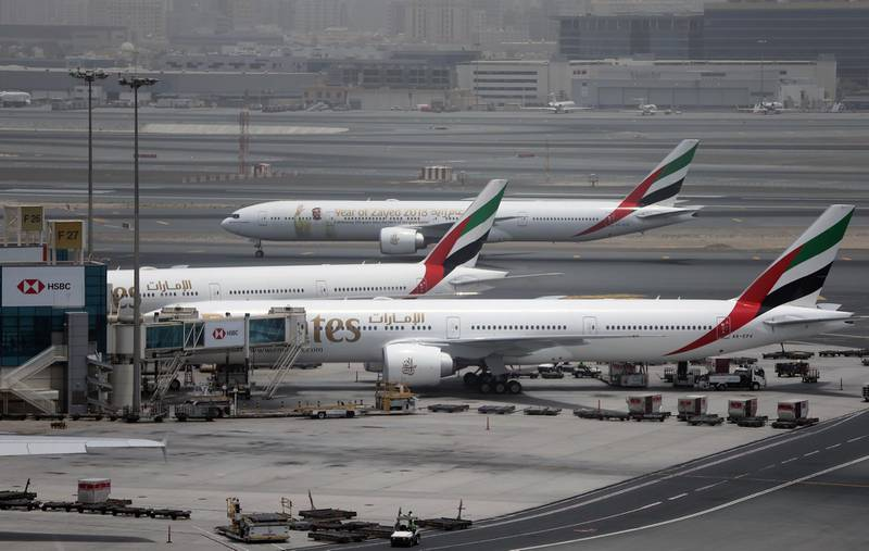 An Emirates Airline plane taxis at the Dubai airport in the United Arab Emirates, Wednesday, May 9, 2018. Emirates, the Middle East's largest airline, says revenue saw a boost over the past fiscal year, reaching $25.2 billion with profits of $762 million. (AP Photo/Kamran Jebreili)