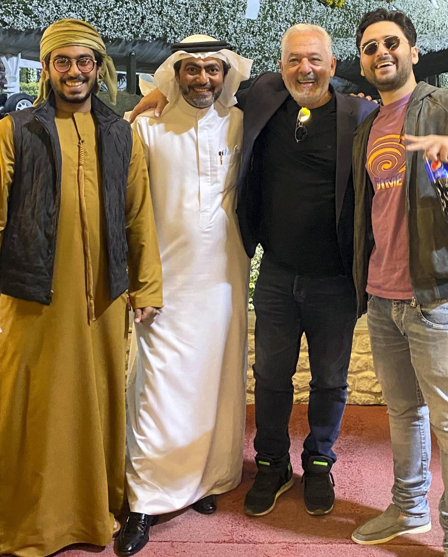 Emirati Mansoor Al Marzooqi (extreme left) with his father Mohamed Al Marzooqi with Israeli businessman Patrick Assuline and his son Dimitri when the family got together in Dubai. Courtesy: Al Marzooqi family.