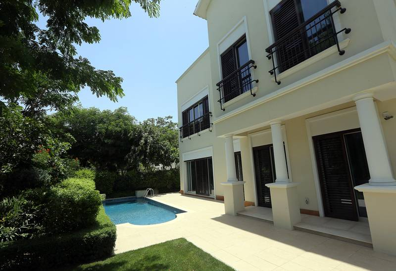Dubai, United Arab Emirates-May, 28, 2015:  View of the pool area in a 4 Bedroom Mediterranean  Villa at the Mohammed Bin Rashid Al Maktoum City – District One in Dubai.  ( Satish Kumar / The National ) For Business / Story by Andy Scott *** Local Caption ***  SK-MeydanSobha-28052015-016.jpg