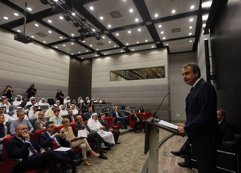 AbuDhabi, United Arab Emirates-April,18,2016: José Luis Rodríguez Zapatero, Former Prime Minister of Spain  gestures during the lecture at the  Emirates Diplomatic Academy  in AbuDhabi.  ( Satish Kumar / The National  )  ID No: 79484 Section: News Reporter : Thamer Subaihi *** Local Caption ***  SK-EDA-18042016-05.jpg