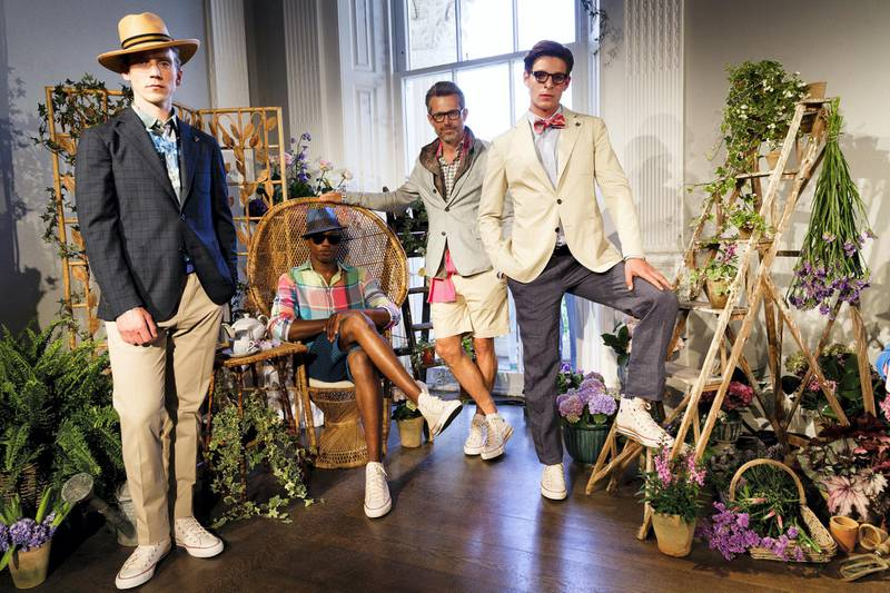 LONDON, ENGLAND - JUNE 13:  British brand Thomas Pink, part of the Moet Hennessey Louis Vuitton group, unveils its Spring/Summer 2016 collection at the Institute Of Contemporary Arts (ICA) as part of London Collections Men SS16 on June 13, 2015 in London, England. Presented against a botanical backdrop, inspired by Peter Schlesinger's 1970 photograph of David Hockney and Cecil Beaton, the collection celebrated Britain's charming and off-beat character.  (Photo by Tristan Fewings/Getty Images for Thomas Pink)