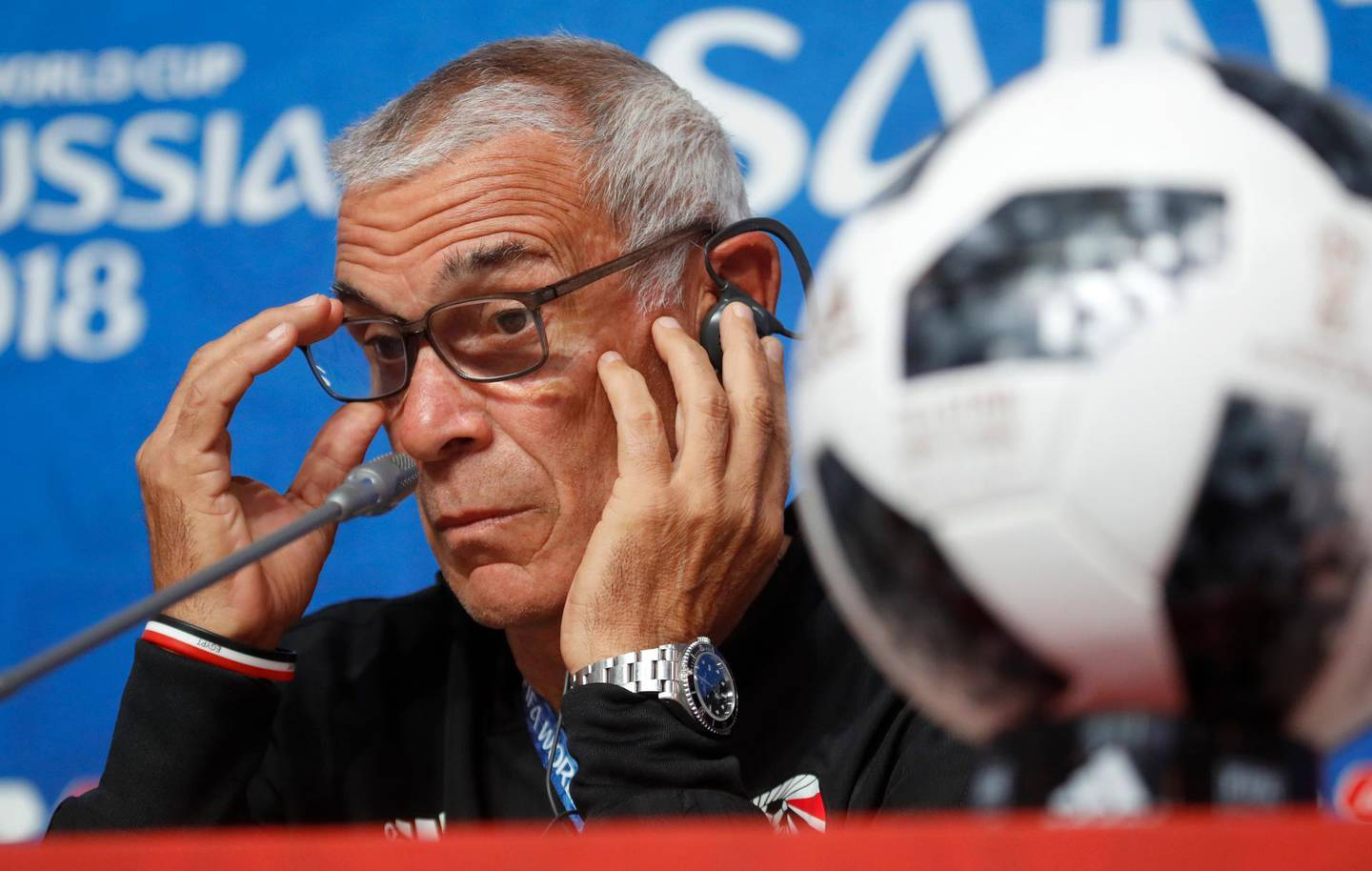 Egypt head coach Hector Cuper attends a news conference on the eve of the group A match between Russia and Egypt at the 2018 soccer World Cup in the St. Petersburg stadium in St. Petersburg, Russia, Monday, June 18, 2018. (AP Photo/Dmitri Lovetsky)