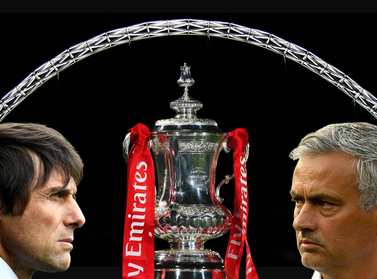 FILE PHOTO (EDITORS NOTE: COMPOSITE OF IMAGES - Image numbers 73035843,496018146,675114354,605866718) In this composite image a comparision has been made between  Antonio Conte, Manager of Chelsea (L) and  Jose Mourinho, Manager of Manchester United. Chelsea and Manchester United meet in the Emirates FA Cup Final at Wembley Stadium on May 19, 2018 in London,United Kingdom.    ***LEFT IMAGE*** LIVERPOOL, ENGLAND - APRIL 30: Antonio Conte, Manager of Chelsea looks on prior to the Premier League match between Everton and Chelsea at Goodison Park on April 30, 2017 in Liverpool, England. (Photo by Laurence Griffiths/Getty Images) ***RIGHT IMAGE***  ROTTERDAM, NETHERLANDS - SEPTEMBER 15: Jose Mourinho, Manager of Manchester United looks on prior to the UEFA Europa League Group A match between Feyenoord and Manchester United FC at Feijenoord Stadion on September 15, 2016 in Rotterdam, . (Photo by Dean Mouhtaropoulos/Getty Images)