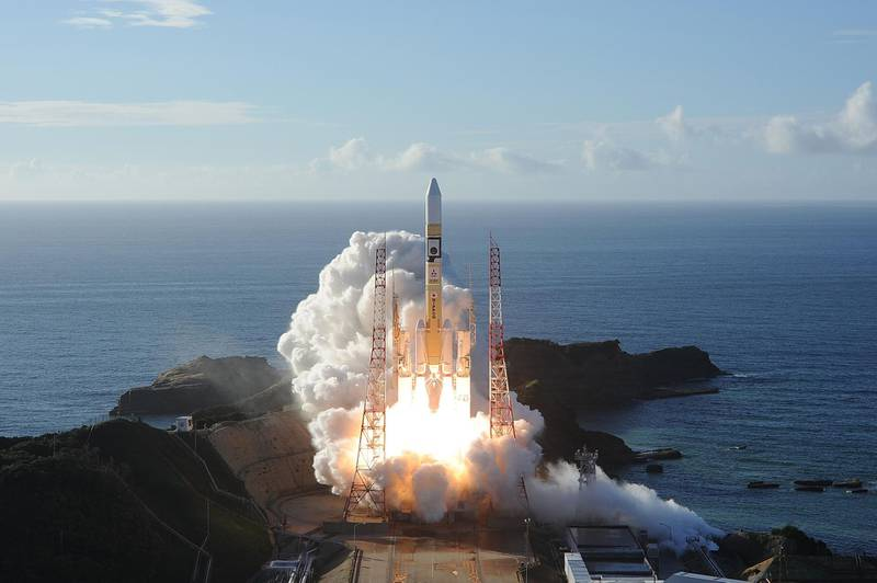 """TOPSHOT - In this handout photograph taken and released on July 20, 2020 by Mitsubishi Heavy Industries an H-2A rocket carrying the Hope Probe known as """"Al-Amal"""" in Arabic, developed by the Mohammed Bin Rashid Space Centre (MBRSC) in the United Arab Emirates (UAE) to explore Mars, blasts off from Tanegashima Space Centre in southwestern Japan. The first Arab space mission to Mars blasted off on July 20 aboard a rocket from Japan, with the probe dubbed """"Hope"""" successfully separating about an hour after liftoff. - --- RESTRICTED TO EDITORIAL USE - MANDATORY CREDIT """"AFP PHOTO / (MITSUBISHI HEAVY INDUSTRIES)"""" - NO MARKETING NO ADVERTISING CAMPAIGNS - DISTRIBUTED AS A SERVICE TO CLIENTS ---  / AFP / Mitsubishi Heavy Industries / Handout / --- RESTRICTED TO EDITORIAL USE - MANDATORY CREDIT """"AFP PHOTO / (MITSUBISHI HEAVY INDUSTRIES)"""" - NO MARKETING NO ADVERTISING CAMPAIGNS - DISTRIBUTED AS A SERVICE TO CLIENTS ---"""