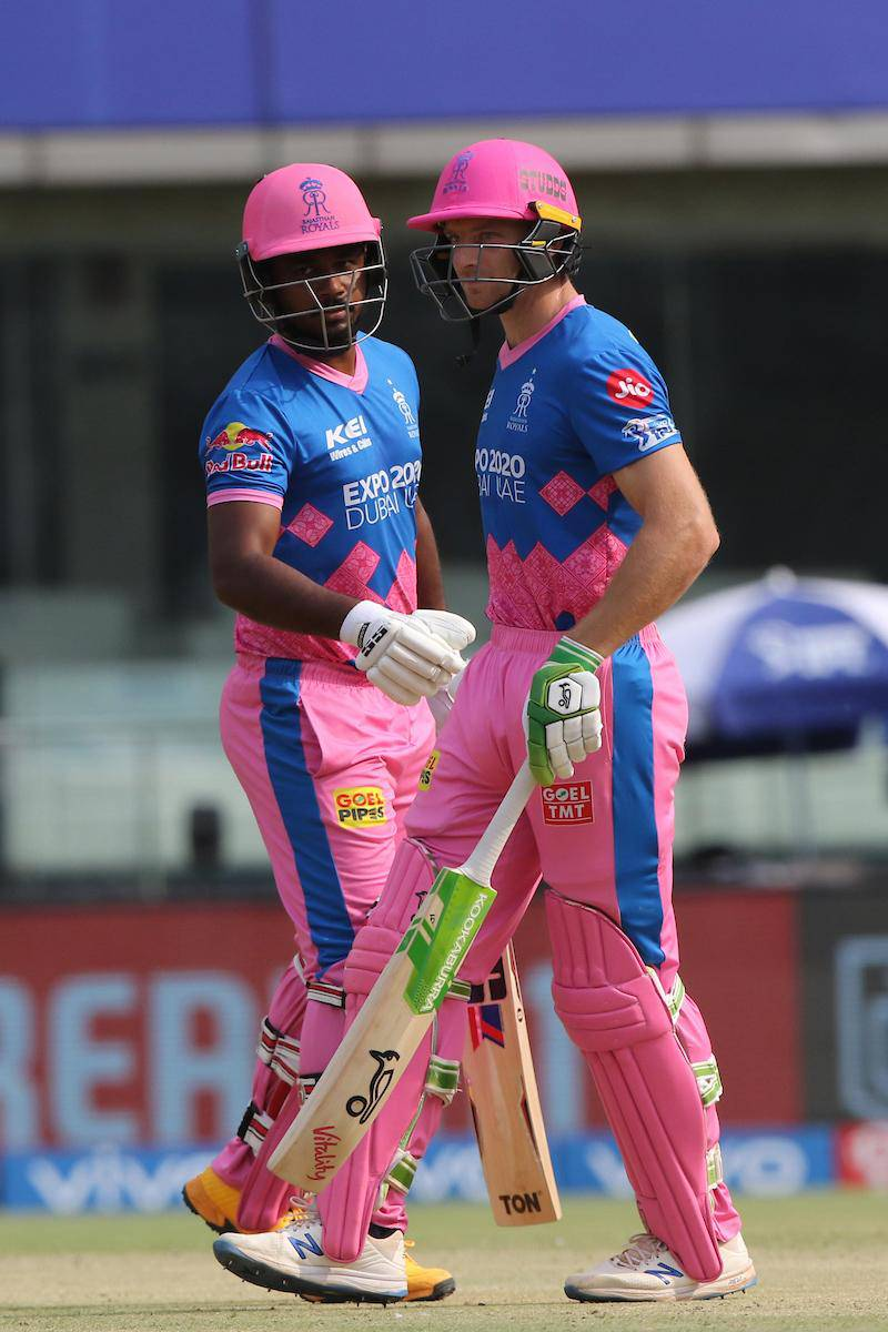 Jos Buttler of Rajasthan Royals and Sanju Samson (c) of Rajasthan Royals during match 28 of the Vivo Indian Premier League between the Rajasthan Royals and the Sunrisers Hyderabad held at the Arun Jaitley Stadium, Delhi, India on the 2nd May 2021Photo by Pankaj Nangia / Sportzpics for IPL