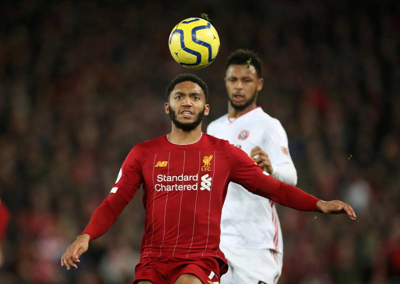 """Soccer Football - Premier League - Liverpool v Sheffield United - Anfield, Liverpool, Britain - January 2, 2020   Liverpool's Joe Gomez in action           Action Images via Reuters/Carl Recine    EDITORIAL USE ONLY. No use with unauthorized audio, video, data, fixture lists, club/league logos or """"live"""" services. Online in-match use limited to 75 images, no video emulation. No use in betting, games or single club/league/player publications.  Please contact your account representative for further details."""