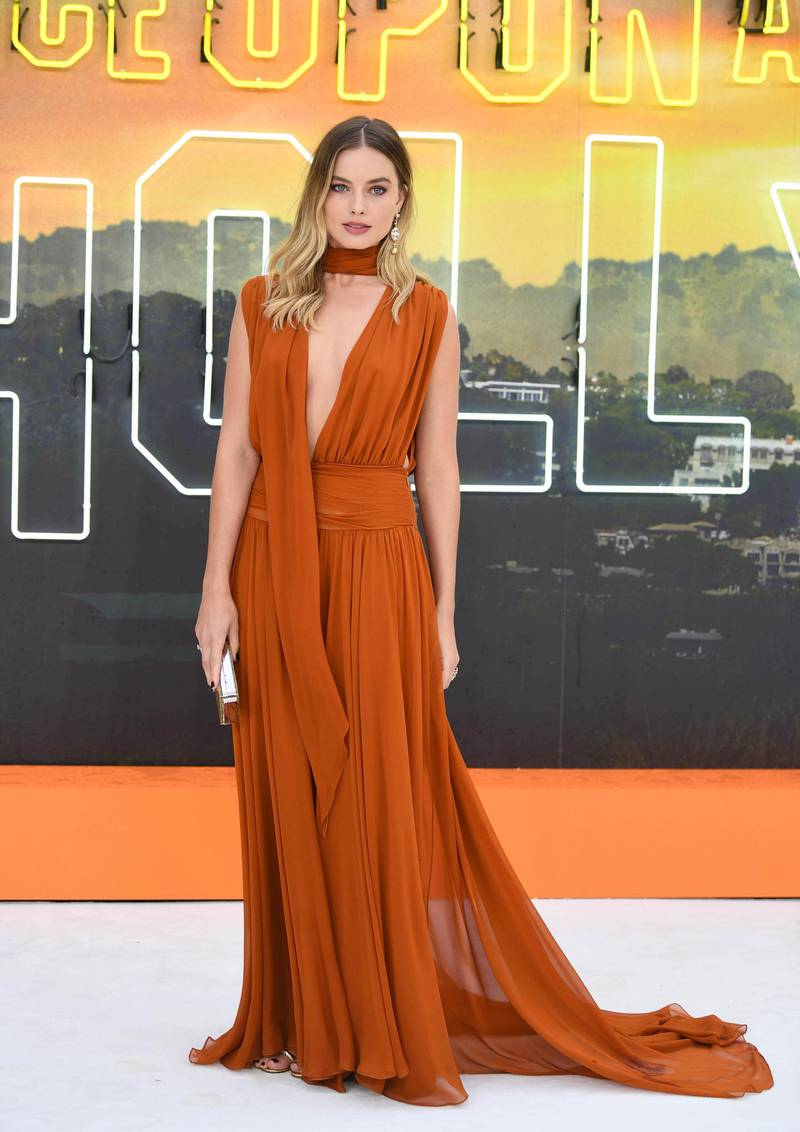 epa07749068 Australian actress/cast member Margot Robbie attends the UK premiere of 'Once Upon a Time In... Hollywood' in London, Britain, 30 July 2019. The movie is released in British cinemas on 14 August.  EPA-EFE/NEIL HALL