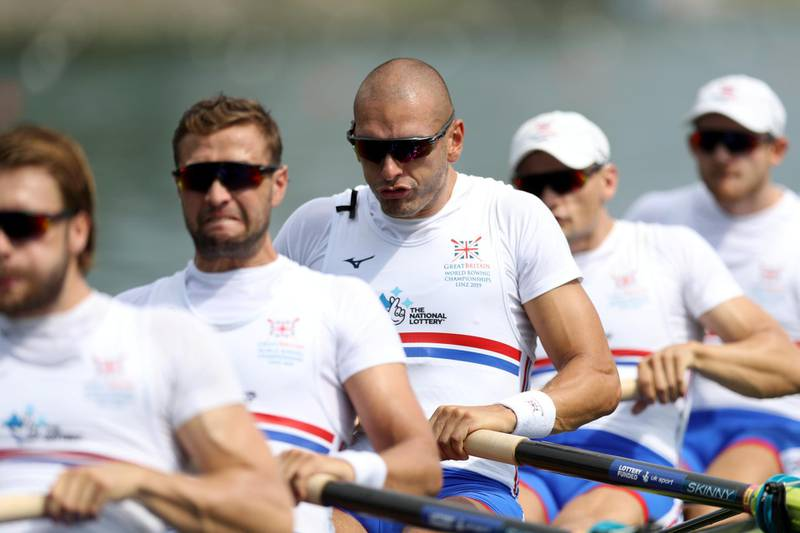 LINZ, AUSTRIA - AUGUST 27: Moe Sbihi of Great Britain in action during the Men's 8 heat 2 race during Day Three of the 2019 World Rowing Championships on August 27, 2019 in Linz-Ottensheim, Austria. (Photo by Naomi Baker/Getty Images)