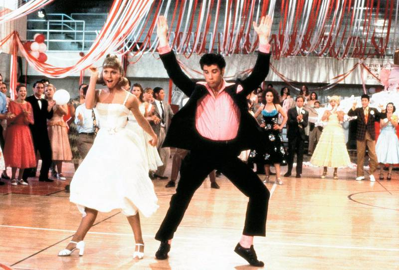 """This image released by the Library of Congress shows Olivia Newton John, left, and John Travolta in a scene from the 1978 film """"Grease."""" The film was added to the National Film Registry. (Paramount Pictures-Library of Congress via AP)"""
