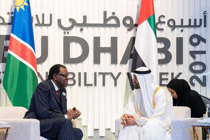 ABU DHABI, UNITED ARAB EMIRATES - January 14, 2019: HH Sheikh Mohamed bin Zayed Al Nahyan, Crown Prince of Abu Dhabi and Deputy Supreme Commander of the UAE Armed Forces (R), meets with HE Hage Geingob, President of Namibia (L), during the World Future Energy Summit 2019, part of Abu Dhabi Sustainability Week, at Abu Dhabi National Exhibition Centre (ADNEC).  ( Mohamed Al Hammadi / Ministry of Presidential Affairs ) ---