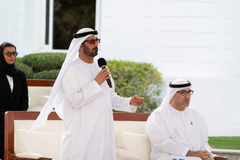 ABU DHABI, UNITED ARAB EMIRATES - March 16, 2020: HE Hussain Ibrahim Al Hammadi, UAE Minister of Education (L), speaks about the UAE's Covid19 response, during a Sea Palace barza. Seen with HE Abdul Rahman Mohamed Al Owais, UAE Minister of Health and Prevention (R).  ( Hamad Al Kaabi  / Ministry of Presidential Affairs ) ---