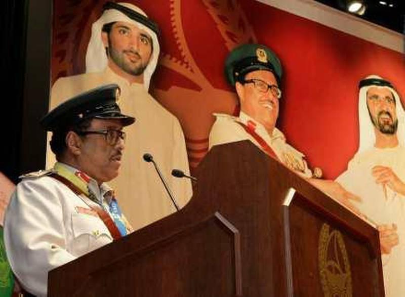 Dubai, 1st February 2010.  Lieutenant General Dhahi Khalfan Tamim (General Commander of Dubai Police) speaks at the honouring ceremony held in Dubai Police General Headquarters.  (Jeffrey E Biteng / The National)   *** Local Caption ***  JB04-Khalfan.jpg
