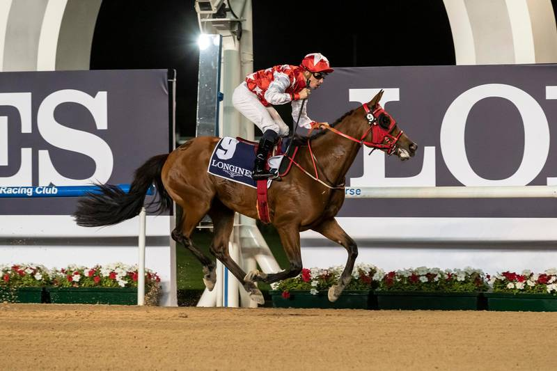DUBAI, UNITED ARAB EMIRATES. 09 JANUARY 2020. Horse Racing. 8th Race Meeting at Meydan Racecourse. Race 1: Purebred Arabians, winner Nr 9, RB Money To Burn, (US) 5 years old ridden by Fabrice Veron and trained by Eric Lemartinel. (Photo: Antonie Robertson/The National) Journalist: Amith Passela. Section: Sport.