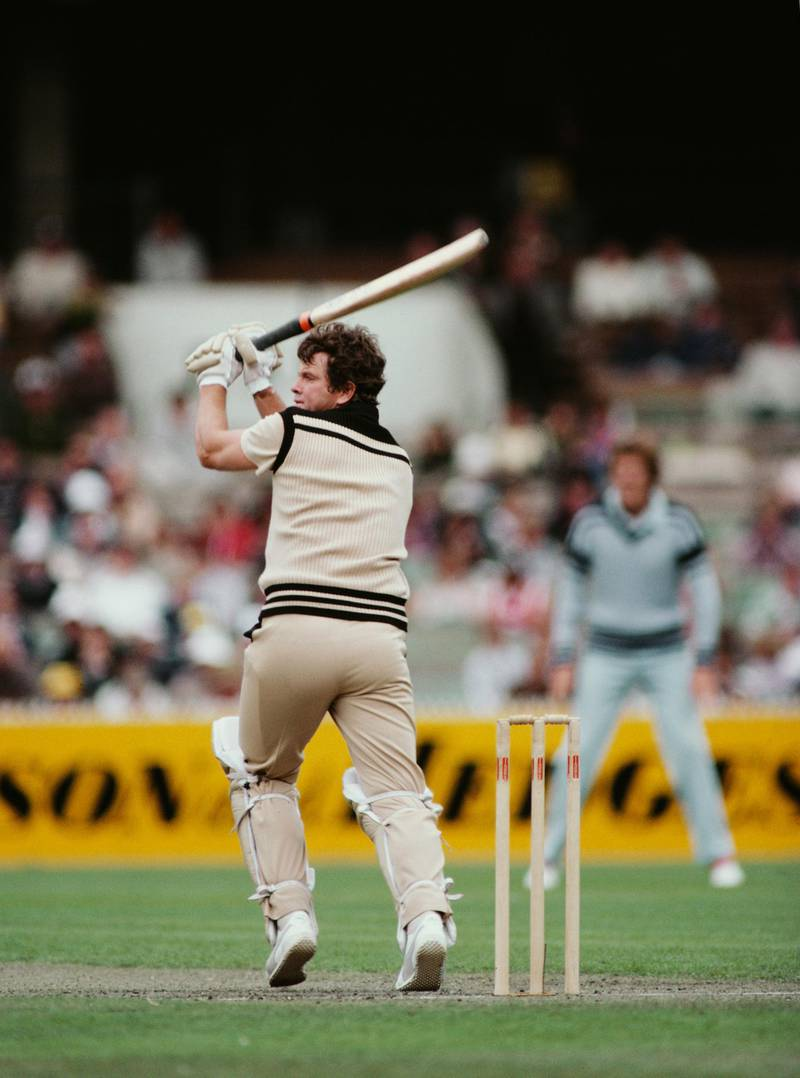 MELBOURNE, AUSTRALIA - JANUARY 13: New Zealand player Lance Cairns hits out using a Newbery bat and wearing the famous brown One Day kit during an Benson and Hedges World Series ODI against England at the MCG on January 13, 1983 in Melbourne, Australia. (Photo by Adrian Murrell/Allsport/Getty Images/Hulton Archive)