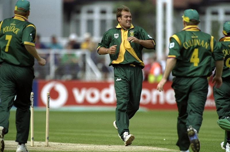 19 May 1999:  Jacques Kallis of South Africa takes the wicket of Sanath Jayasuriya of Sri Lanka during the Cricket World Cup Group A match played at The County Ground  in Northampton, England. South Africa won the game by 89 runs.  \ Mandatory Credit: Ross Kinnaird /Allsport/Getty Images