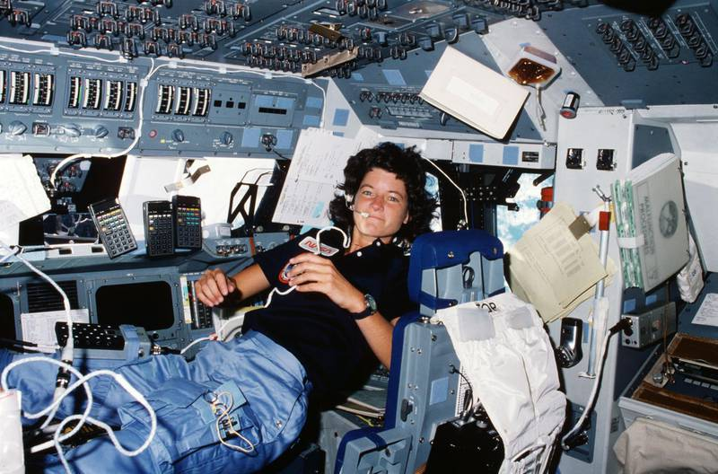 """in 1983, space shuttle Challenger and the STS-7 crew launched from NASA's Kennedy Space Center. With the launch, Mission Specialist Sally Ride became the first American woman to fly in space. The STS-7 crew, the first five-member crew, deployed two communications satellites and conducted experiments from the Shuttle Pallet Satellite. Ride, shown here floating in the Challenger flight deck, later described the launch as """"exhilarating, terrifying and overwhelming all at the same time."""" Courtesy NASA"""
