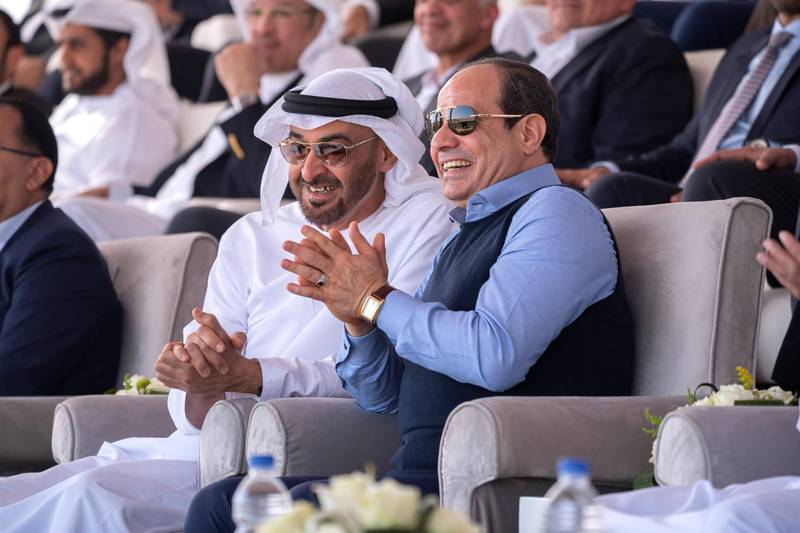 SHARM EL SHEIKH, EGYPT - January 16, 2020:HH Sheikh Mohamed bin Zayed Al Nahyan, Crown Prince of Abu Dhabi and Deputy Supreme Commander of the UAE Armed Forces () and HE Abdel Fattah El Sisi, President of Egypt (), attend Sharm El Sheikh Heritage Festival.  ( Hamad Al Kaabi /  Ministry of Presidential Affairs ) —