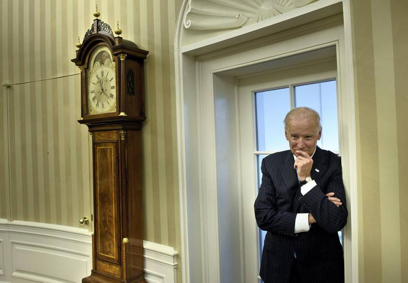 US Vice President Joe R. Biden waits for a meeting with US President Barack Obama and Pakistan's Prime Minister Nawaz Sharif in the Oval Office of the White House October 22, 2015 in Washington, DC. AFP PHOTO/BRENDAN SMIALOWSKI (Photo by BRENDAN SMIALOWSKI / AFP)