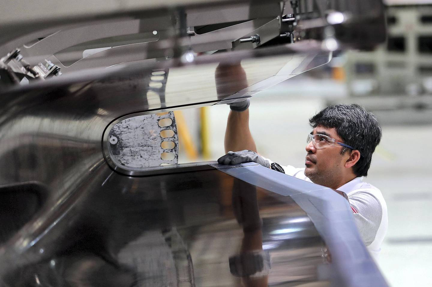 AL AIN , UNITED ARAB EMIRATES , JULY 2 – 2018 :- Worker working on the parts for Airbus and Boeing in the Autoclave section at the Strata Manufacturing facility in Al Ain. ( Pawan Singh / The National )  For News. Story by John Dennehy