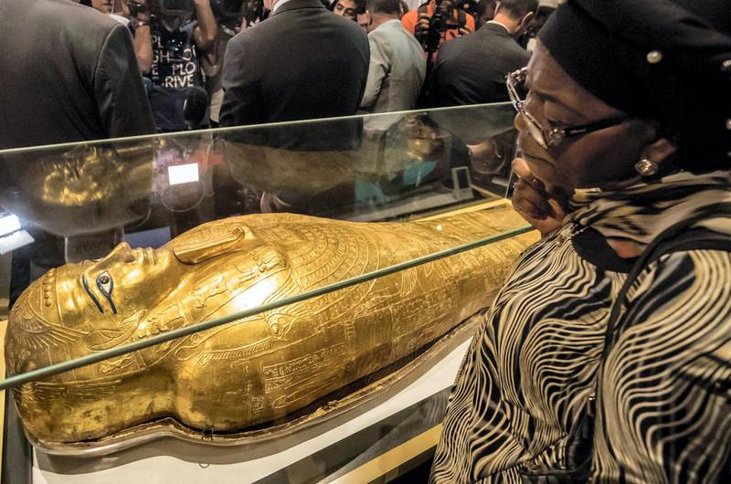 A picture taken on October 1, 2019, shows the Golden Coffin of Nedjemankh, on display at the National Museum of Egyptian Civilization in Cairo, following its repatriation from the US. (Photo by Khaled DESOUKI / AFP)