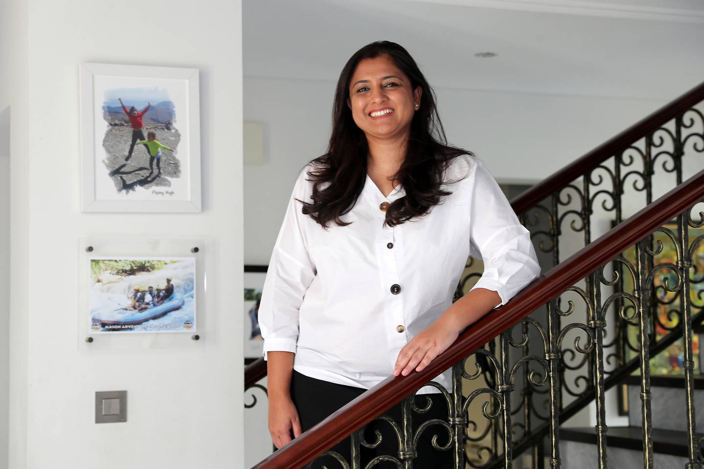 DUBAI, UNITED ARAB EMIRATES , July 19 – 2020 :- Anuscha Iqbal, chief executive, Spotii at her villa in the Victory Heights in Dubai Sports City in Dubai. (Pawan Singh / The National) For Business. Story by Deepthi Nair