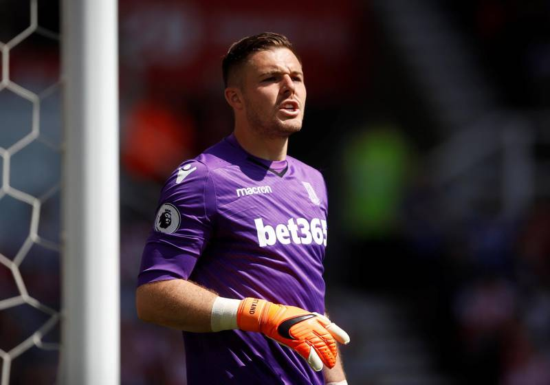 """Soccer Football - Premier League - Stoke City vs Crystal Palace - bet365 Stadium, Stoke-on-Trent, Britain - May 5, 2018   Stoke City's Jack Butland looks on      Action Images via Reuters/Carl Recine    EDITORIAL USE ONLY. No use with unauthorized audio, video, data, fixture lists, club/league logos or """"live"""" services. Online in-match use limited to 75 images, no video emulation. No use in betting, games or single club/league/player publications.  Please contact your account representative for further details."""
