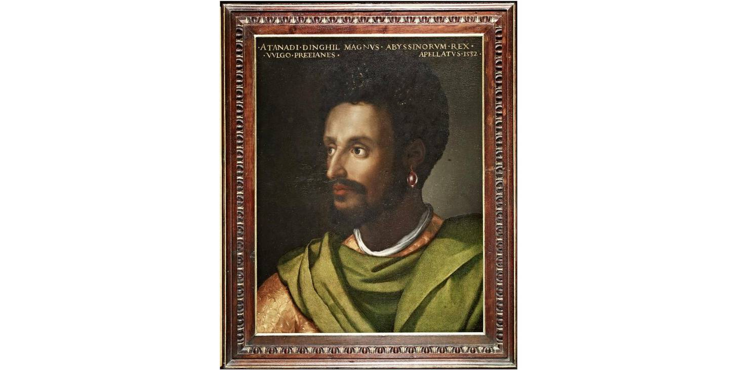 """The painting """"King of Abyssinia"""" by Cristofano dell'Altissimo is seen at the Uffizi gallery, one of the artworks featured in its """"Black Presence"""" project that explores Black culture in in Renaissance art by bringing together artworks from their collection with leading Black figures and will be discussed on social media on July 4, in this undated handout photo in Florence, Italy. Obtained by Reuters on July 2, 2020. Gallerie degli Uffizi/Handout via REUTERS ATTENTION EDITORS THIS IMAGE HAS BEEN SUPPLIED BY A THIRD PARTY. MANDATORY CREDIT."""