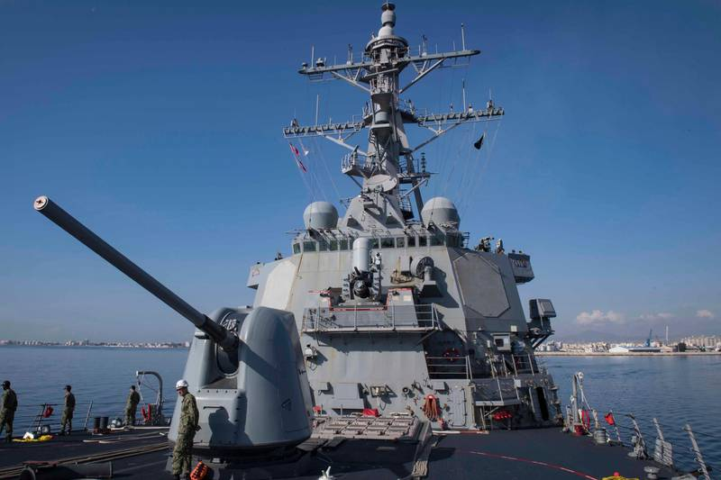 epa06661320 A handout photo made available by the US Navy on 10 April 2018 shows the Arleigh Burke-class guided-missile destroyer USS Donald Cook (DDG 75) departing Larnaca, on the southern coast of Cyprus, 09 April 2018. Donald Cook, forward-deployed to Rota, Spain, is on its seventh patrol in the US 6th Fleet area of operations in support of regional allies and partners, and US national security interests in Europe and Africa. According to reports on 10 April 2018, the Arleigh Burke-class warship, which carries on board some 60 Tomahawk cruise missiles, was reportedly sailing toward Syria as US President Donald J. Trump was weighing military options in response to an alleged chemical attack in Douma over the weekend.  EPA/SEAMAN ALYSSA WEEKS/US NAVY HANDOUT  HANDOUT EDITORIAL USE ONLY/NO SALES