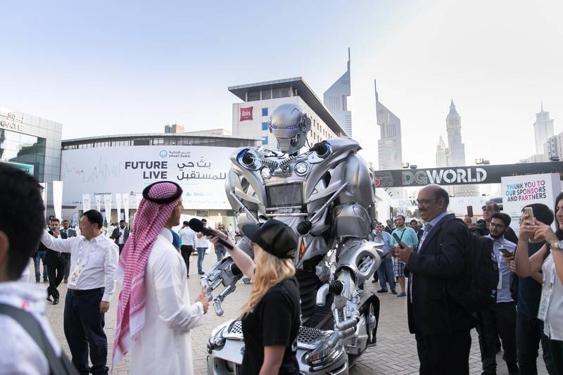 DUBAI, UNITED ARAB EMIRATES - OCTOBER 14, 2018. A robot interacts with the visitors at Gitex Technology Week at DWTC.(Photo by Reem Mohammed/The National)Reporter: Section:  NA